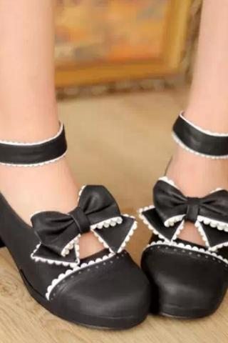 New 2014 Pastel Cute Lolita Bow Shoes