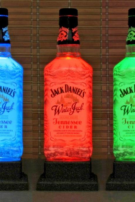Jack Daniels Winter Cider Color Changing LED Remote Controlled Bottle Lamp Bar Light Bodacious Bottles