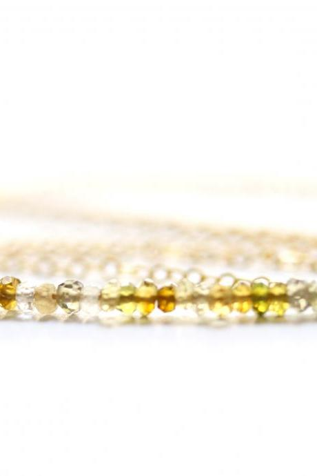 Green Garnet Bar Necklace in Gold Filled