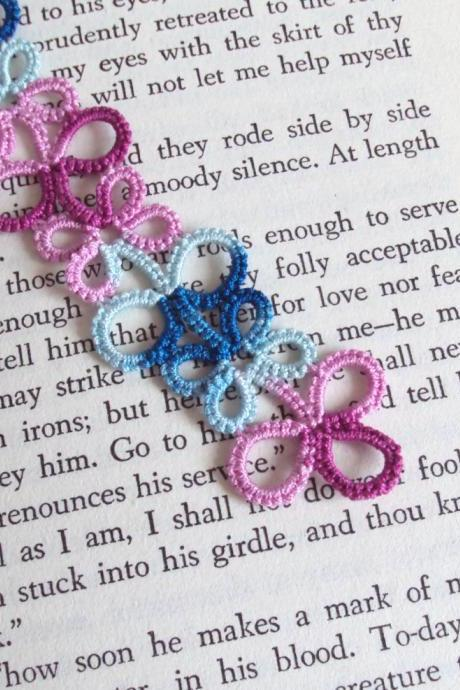 Blue Pink Lace Bookmark In Tatting