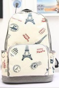 Fashion Eiffel Tower With Airplane Print Canvas Backpack