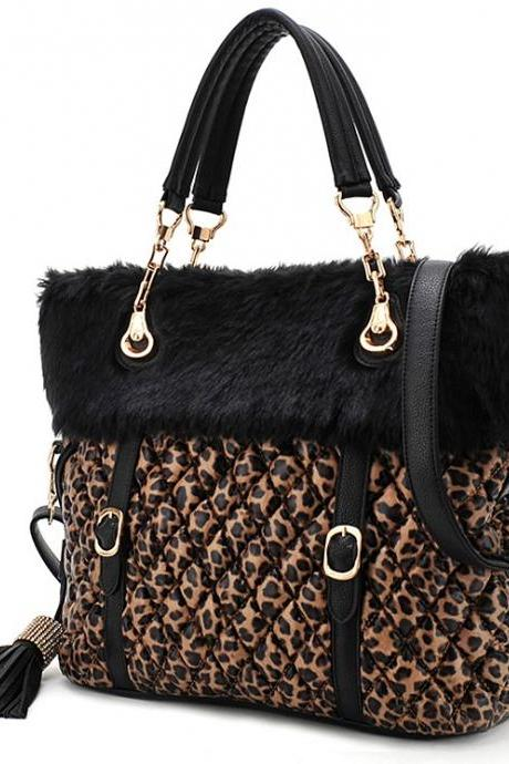 New Style Leopard Diamond Tassel Shoulder Bag Handbags