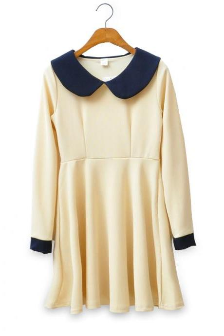 Vintage Inspired Beige Dress With Peter Pan Collar