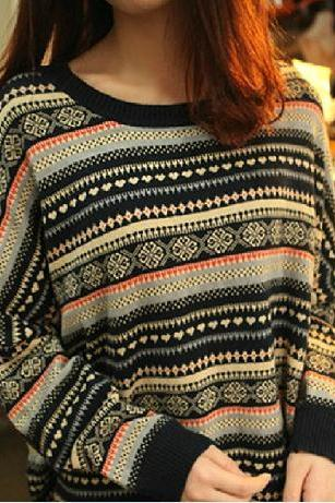 Retro Striped Pullover Sweater