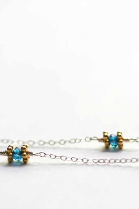 Blue Quartz Station Necklace in Sterling Silver and Gold Vermeil