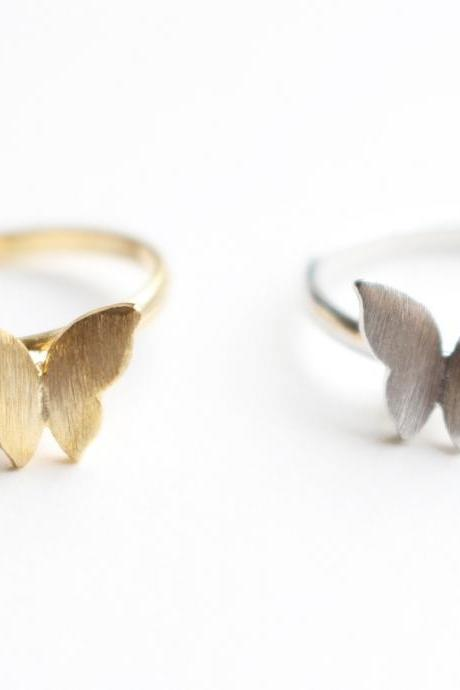 Butterfly ring, Adjustable ring, Open ring, Simple, Minimal