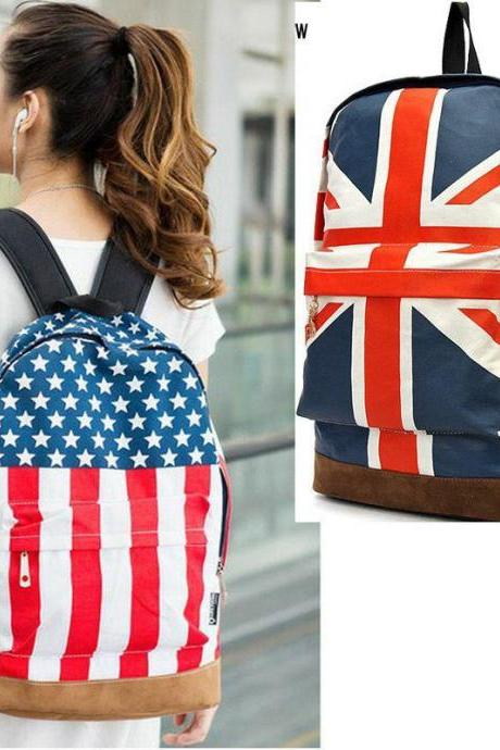 Unisex Canvas Handbag Olympic American US UK Flag Star Banner Backpack School bags Schoolbag H9396