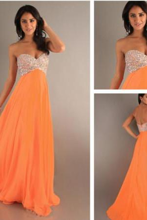 In Stock Sexy Sweetheart Beaded Chiffon Prom Dresses US 2.4.6.8 AM0003