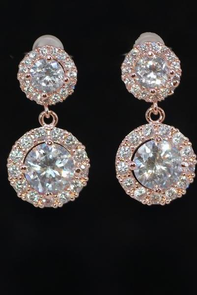 Wedding Earrings, Bridal Jewelry - Rose Gold Plated Cubic Zirconia Detailed Round Earring with Round Cubic Zirconia (E690)