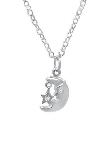 Sterling Silver Girls Moon and Star CZ Necklace Pendant 925 Jewelry Clear Cubic Zirconia Love Child Daughter Gift Wedding