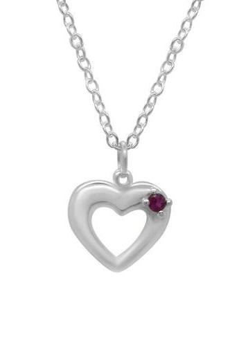 Sterling Silver Girls Ruby Heart Necklace Pendant 925 Jewelry Semi Precious Gemstone Love Child Daughter Birthday Gift Wedding