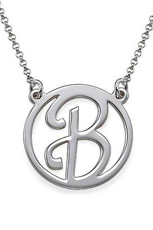 Personalized Sterling Silver Cutout Girls Initial Name Necklace Pendant Custom Flower Girl Gift 925 Jewelry