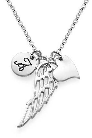 Personalized Sterling Silver Engraved Girls Initial Name Necklace Pendant Angel Wing Heart Custom Flower Girl Gift 925 Jewelry