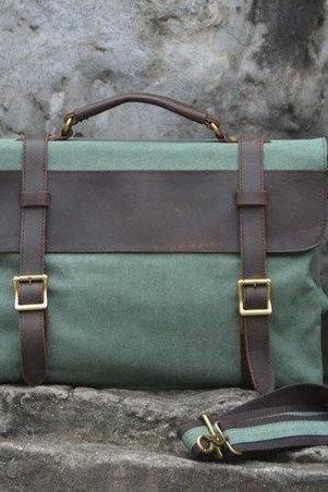 Canvas Leather Bag Canvas Messenger Bag Leisure Canvas Bag Canvas Handbag Student Canvas Bag---Coral-Green