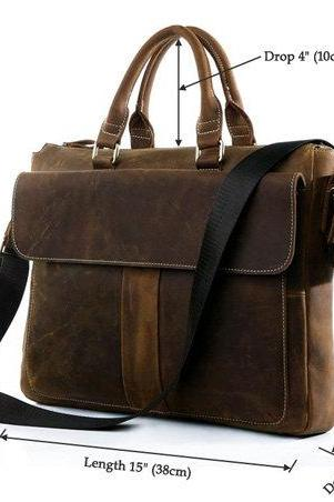 Dark Brown Leather Messenger Bag Men's Business Briefcase Leather Ipad/Laptop Bag Retro Leather Bags