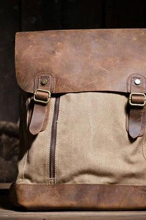 Canvas Bag Leather Canvas Backpacks Canvas Backpacks Student Canvas Backpack Leisure Canvas backpack