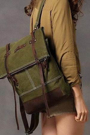 Bamboo Green Canva Backpacks Canvas-Leather Backpacks School Backpack