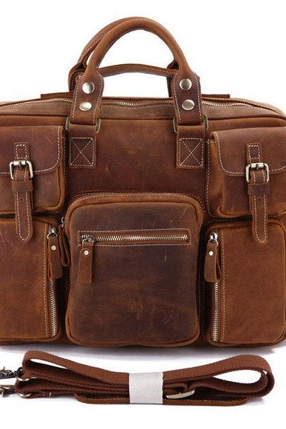 Handmade Leather Messenger Bags Traveling Bags Large Capacity Bag