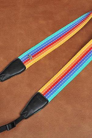 Gift- Camera Strap, DSLR Camera Strap, Canon Camera Strap, Nikon Camera Strap-Rainbow