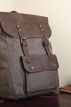 Handmade Leather Canvas Backpack Coffee Canvas Backpacks Student Canvas Backpack laptop bag---M/L