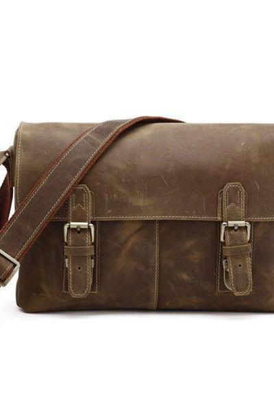 Crazy Horse Leather Men's Brown Shoulder Messenger Bag Crossbody iPad Bags