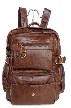 Retro Leather Backpacks Men's Leisure Backpack Leather Messenger Bag Travel Leather Bags