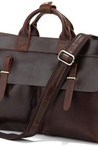 Brown Leather Messenger Bag Men's Leather Bags Messenger Bags Laptop Bag Business Men's Briefcase