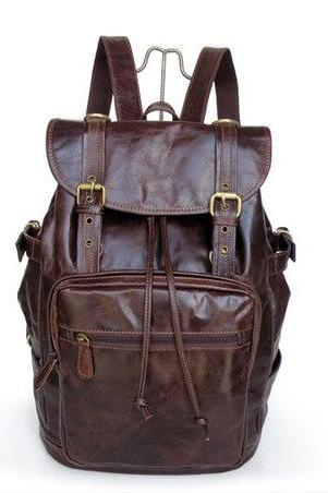 Dark-chocolate Leather Backpacks , Leisure Backpacks