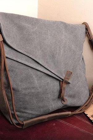 Gray Canvas Messenger Bag,Canvas Leisure Bags ,Canvas School Bag