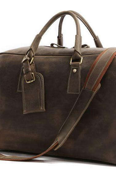 Handmade Leather Luggage Retro Brown Travel Bags Leather Messenger Bag