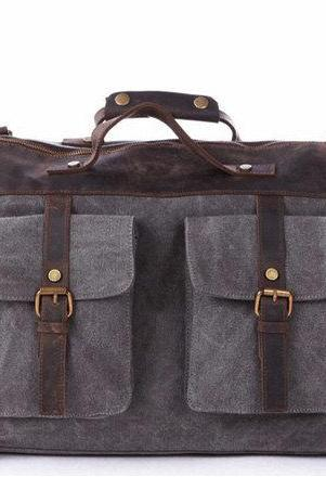 Dark Gray Canvas & Balck Leather Messenger Bag, Canvas Messenger/ Handbag, Canvas Bag with the Strap