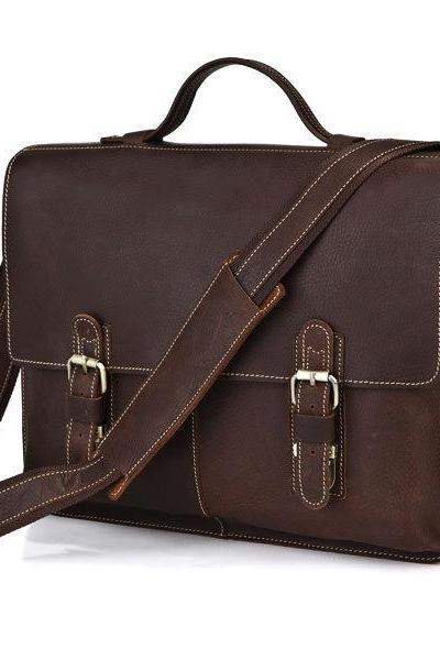 Men's Handmade Leather Messenger Bag Leather Briefcase Leather Crossbody Bag Laptop Bag Leather Travel Bag