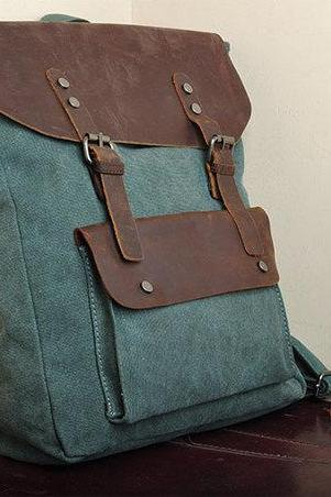 Christmas Gift - Handmade Leather Canvas Backpack Canvas Backpacks Student Canvas Backpack 15''macbook pro/air bags---lake green