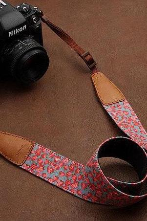 Camera Strap DSLR Camera Strap Handmade Camera Strap---Strawberry