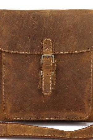 Handmade Brown Leather Bag Men's Leather Messenger Bag Ipad's Messenger Bag