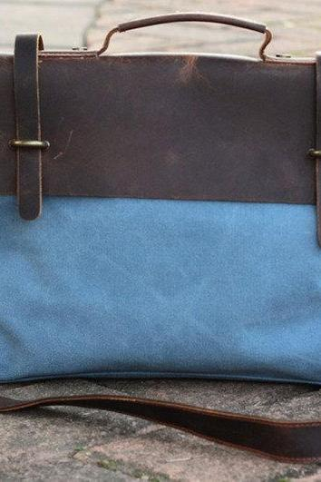 Blue Canvas Messenger Bag / Crazy Horse Handbag / Casual Canvas Bag / Messenger Bag /Canvas Shoulder Bag