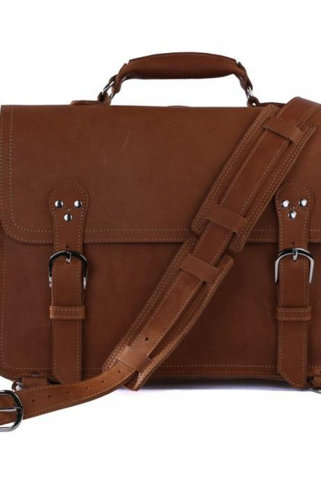 High Quality Leather Messenger Bag /Business Brown Leather Traveling Bags /Retro Large Size Messenger Bag