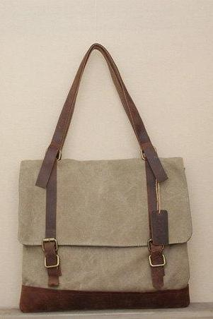 Khaki Canvas Shoulder Bag Canvas Messenger Bag Women's Canvas Bags Canvas Handbag
