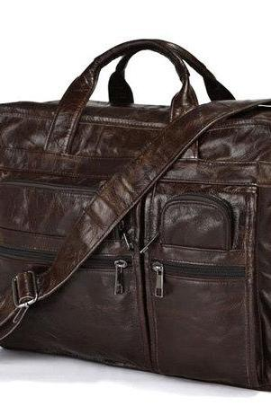 100% Genuine Vintage Leather Men's Brown Briefcase Messenger 15.4'' Laptop Bag