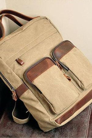 Canvas Bag Canvas Backpacks Leisure Leather/Canvas Backpack Canvas Hangbags---Khaki