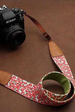 dslr Camera Strap Universal Camera Strap denim Camera Strap SLR Camera Strap---Strawberry