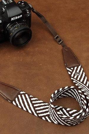 Christmas Gifts Geometric Patterns Camera Strap Leather Camera Strap Denim Camera Strap DSLR Camera Strap---Brown and white stripes