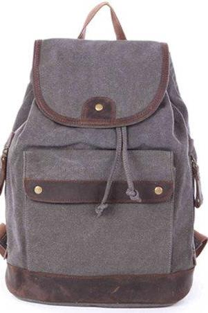 Gray Canvas Backpacks Handmade Leather Canvas Backpack Student Canvas Backpack Leisure Packsacks