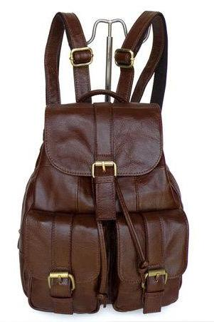 Chocolate Leather Backpacks , Leisure Backpacks