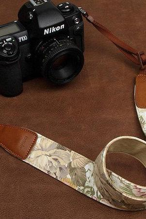 Camera Strap Leather Camera Strap Denim Camera Strap DSLR Camera Strap---flower