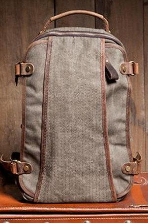 Gray Canvas Bag Student Canvas Backpacks Leisure Leather/Canvas Backpack School Canvas Bags