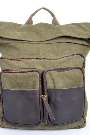 Army Green Canva Backpacks Canvas-Leather Backpacks School Backpack Canvas Bag with two front pockets