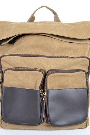 Khaki Canva Backpacks Canvas-Leather Backpacks School Backpack Canvas Bag with two front pockets