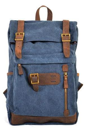 Blue Canva Backpacks Canvas-Leather Backpacks School Backpack Shouler Bag