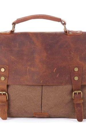 Coffee color Canvas Bag Canvas messenger bag Leisure Leather/Canvas messenger bag canvas handbag